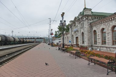 Marble building of the Sludyanka railway station in Siberia, Russia.