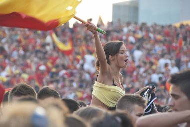 Spanish fans gather on a stadium in Valencia, Spain.