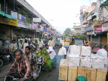 Busy street with Indian men near Main Market in Pondicherry, India