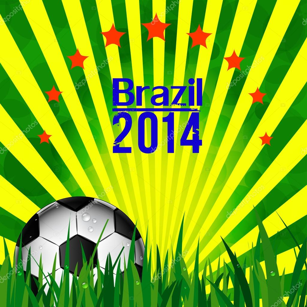 Abbildung Fußball Karte in Brasilien Flagge Farben. Fußball ...
