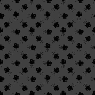 Videocamera web icon. flat design. Seamless gray pattern. Vector EPS10 stock vector