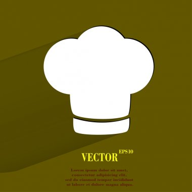 Chef cap. Cooking. Flat modern web button with long shadow and space for your text