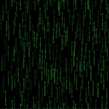 Dark green seamless pattern with binary code
