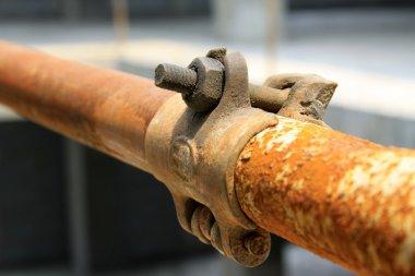 rusty metal scaffolding elements