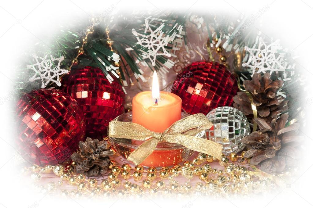 Decorazioni Natalizie Con Pigne E Candele.Natale Natura Morta Con Candela Decorazioni Natalizie E