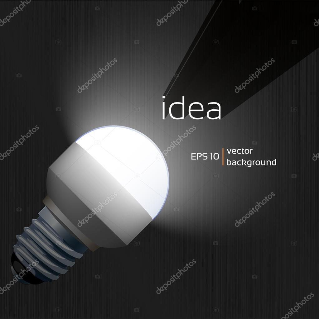 Illuminate LED lamp in the dark, design background texture