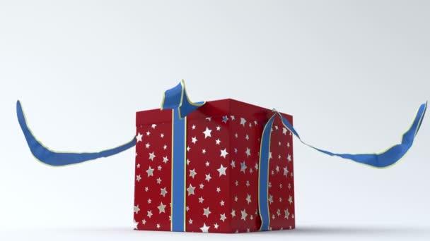 Piros - ezüst csillag ajándék doboz-val kék szalag megnyitása