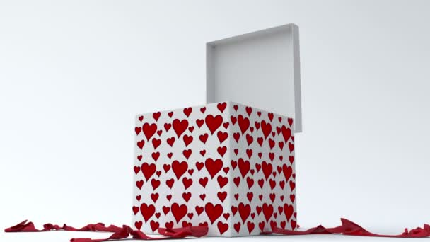 White gift box with red hearts opening