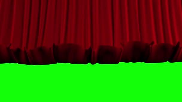 Őrült színházi függöny gyorsan csökken. Chroma-kulcs
