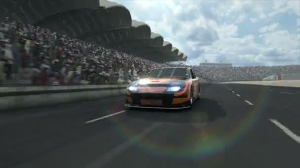 Race car along the racetrack