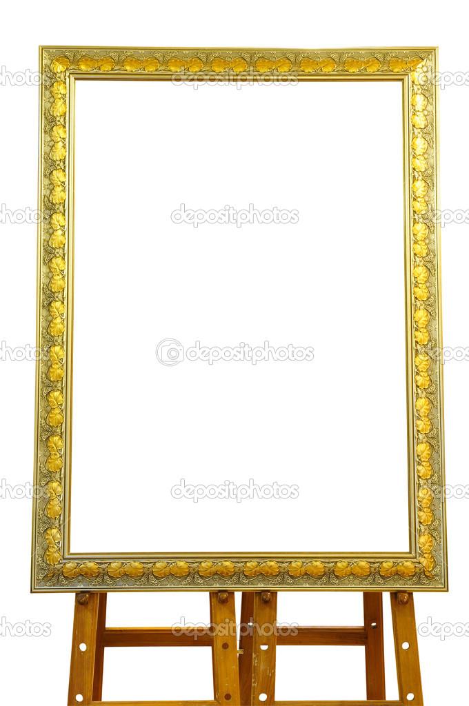 Vintage gold Bilderrahmen mit Holz Staffelei isoliert auf weiss ...