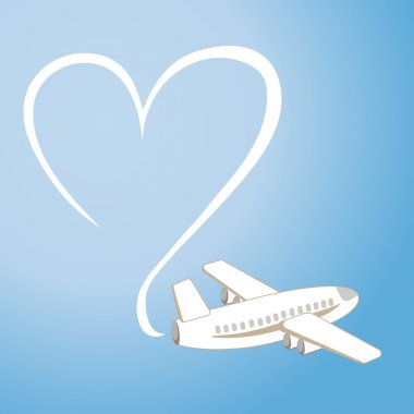 The love message in the sky by means of the plane (vector)
