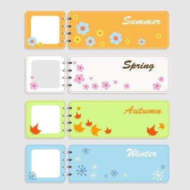 Four notebooks - Four seasons (vector)