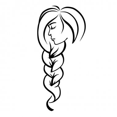 Beautiful face of the girl with a braid (vector)