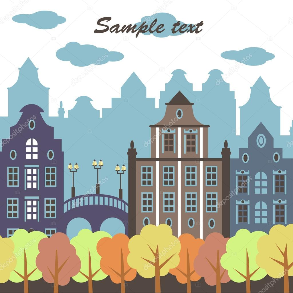 European city in the autumn (vector)