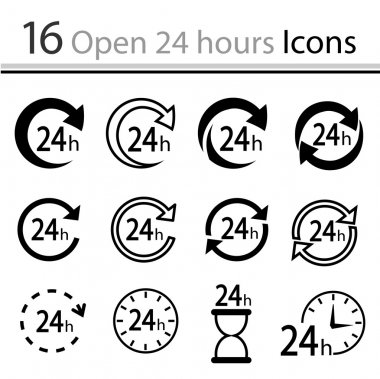 Set of open 24 hours Icons