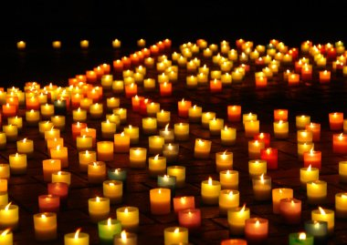 Llighted candles at night