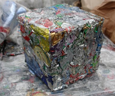 Aluminum cans ready for recycling