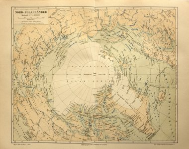 Old map of the Arctic Circle Lands