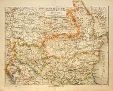 Old map of Bulgaria and Romania