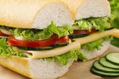 vegetariánský sendvič se sýrem a zeleninou