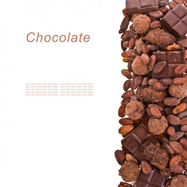 Chocolate chips, chocolate, cocoa beans, cocoa powder