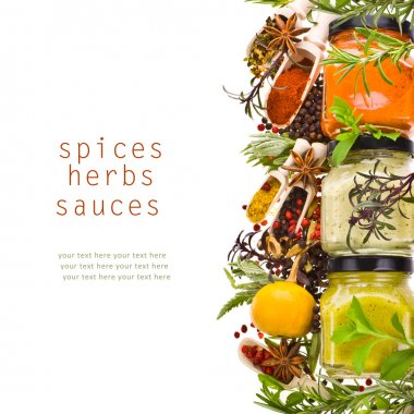 Dry spices, fresh herbs and cooking sauces in jars