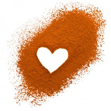 Shape of a heart on the cocoa powder