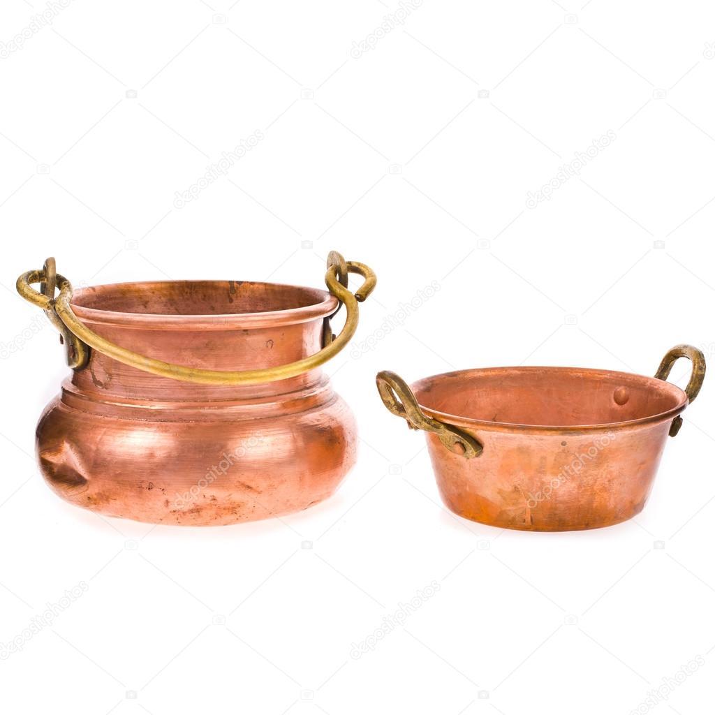 dos utensilios de cocina de cobre antiguo — Foto de stock © vanazi ...