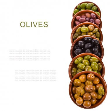 Different varieties of olives marinated in traditional clay bowls isolated on white background