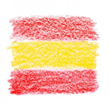Crayon sketch of a spanish flag on white paper