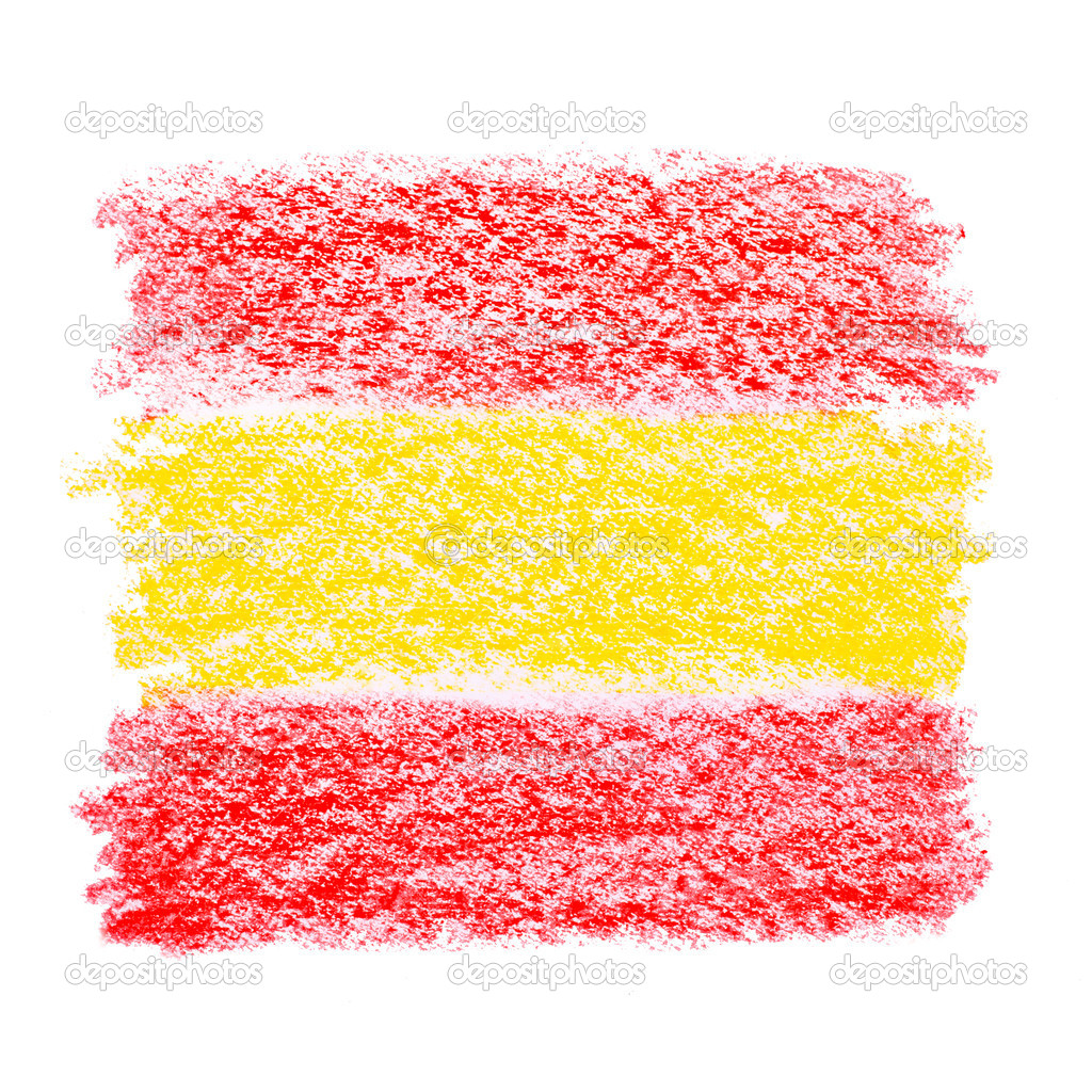 crayon sketch of a spanish flag on white paper u2014 stock photo
