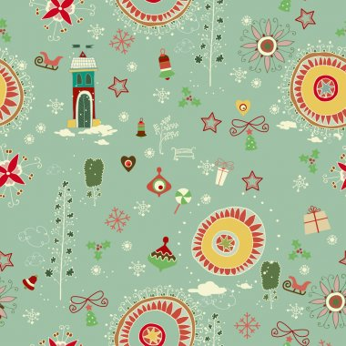 Christmas retro seamless with little town in winter