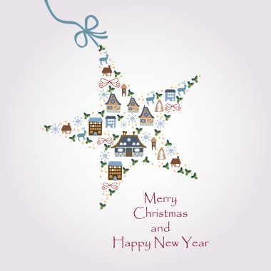 Christmas star illustration - postcard with a twinkling star
