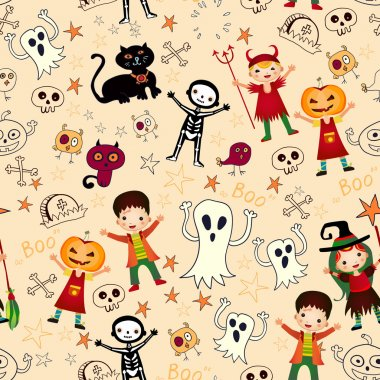 Vector seamless background with kids. in halloween costumes.