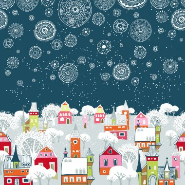 Vector illustration with winter city, falling snowflakes
