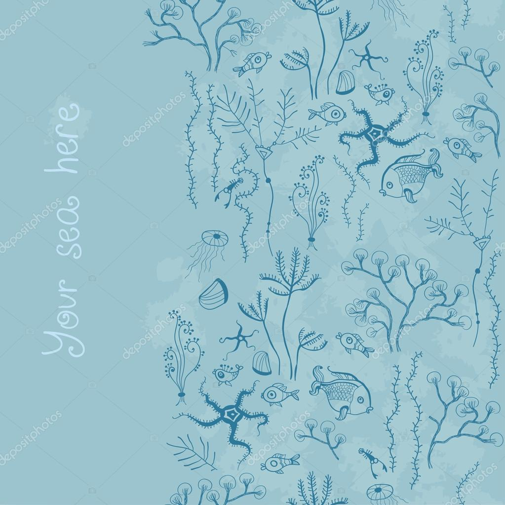 Background with sea world seamless pattern,