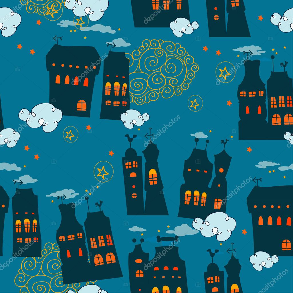 Seamless pattern with houses in the night sky