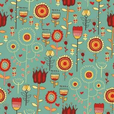 Vintage flowers. Seamless with flowers