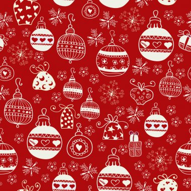 Red Christmas Seamless Pattern.
