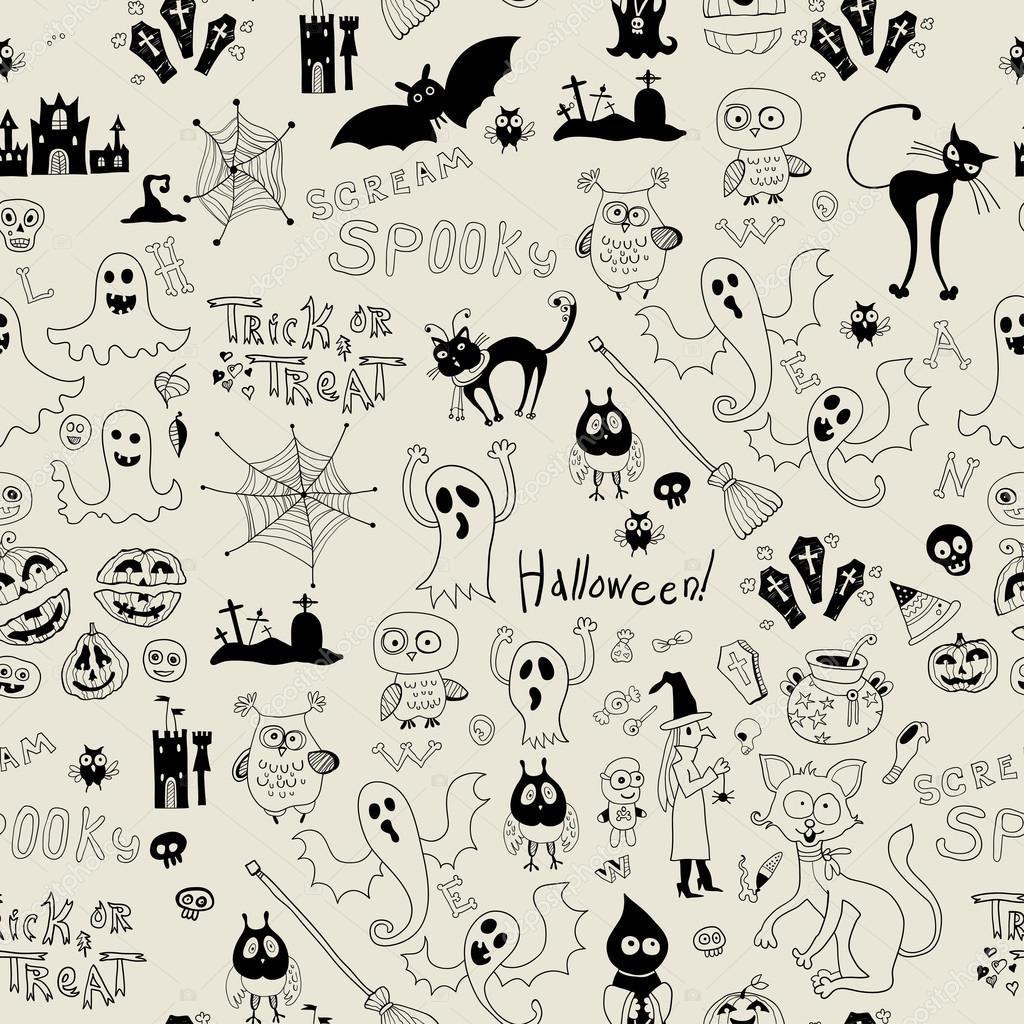 patrón sin costuras Halloween con iconos — Vector de stock ...