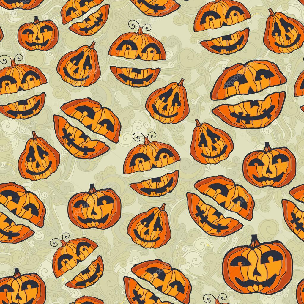 cute halloween seamless with pumpkins u2014 vector by pictulandra