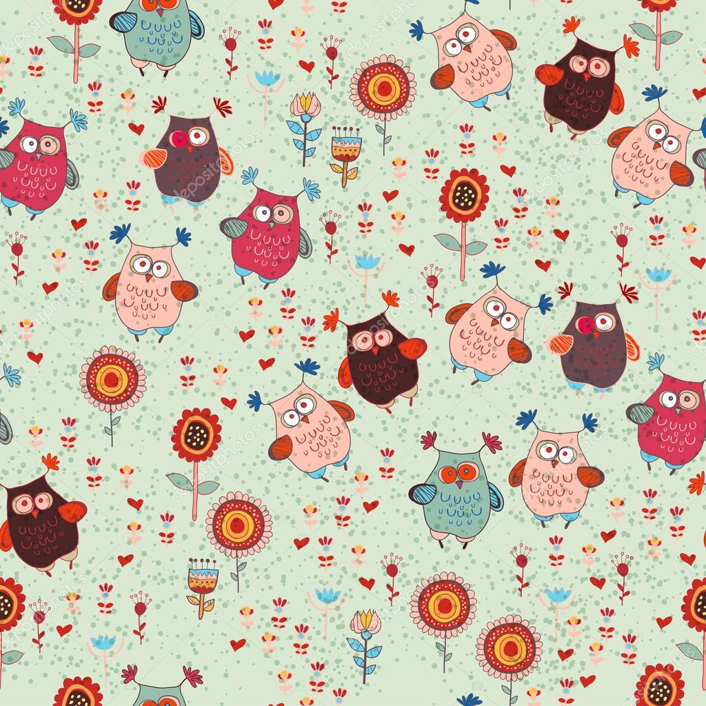 Cute seamless owl background patten for kids