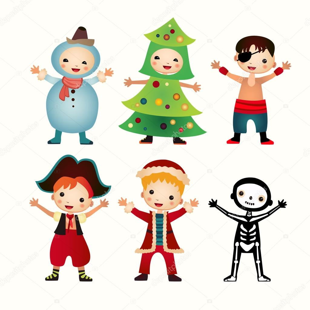 Children in costumes isolated on white background