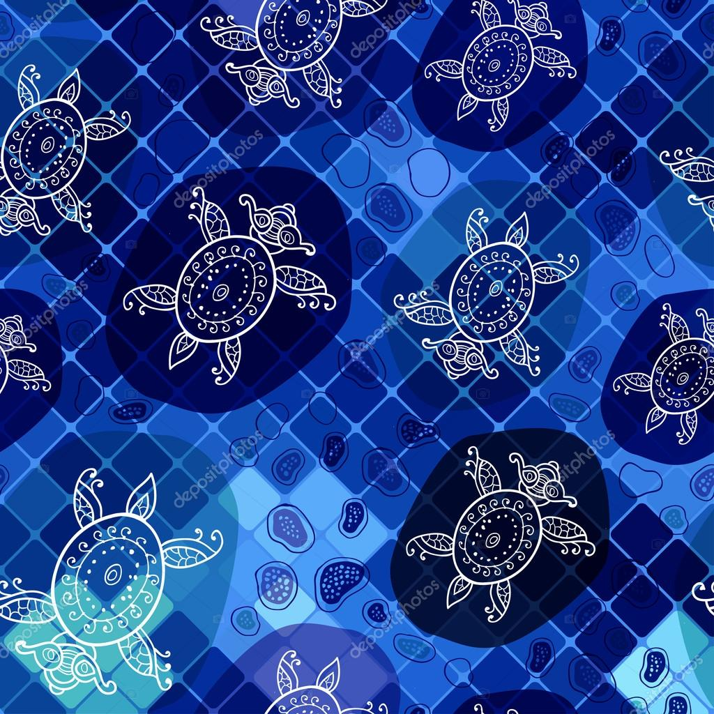 Pattern with turtle on the mosaic background