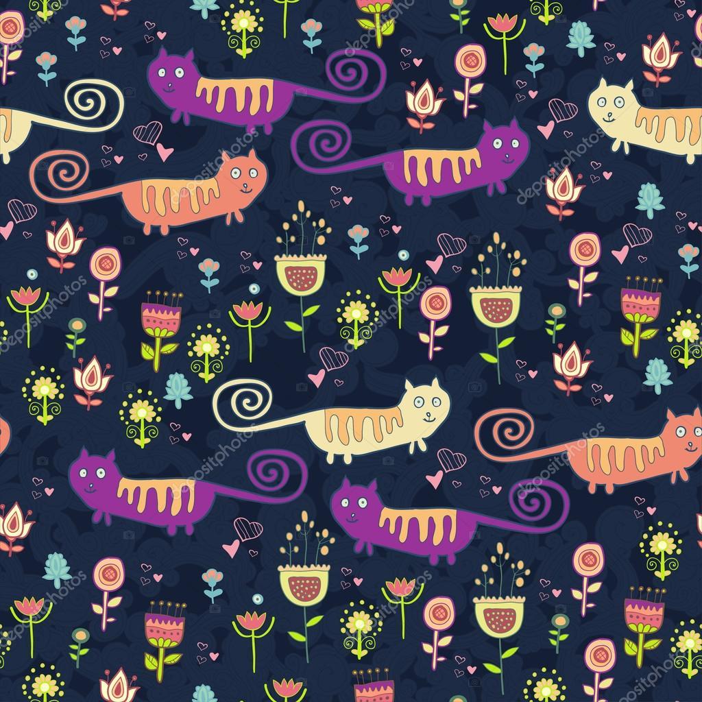 Bright cartoon pattern with animals