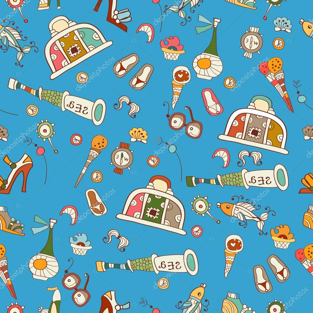 Bright cartoon pattern with summer vacation icons