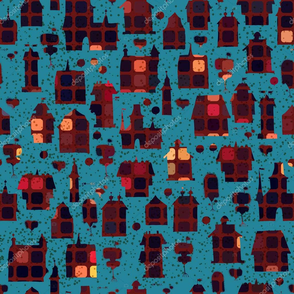 Seamless pattern with houses in the night