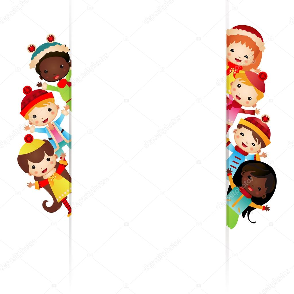 Frame with multinational children in bright clothes — Stock Vector ...