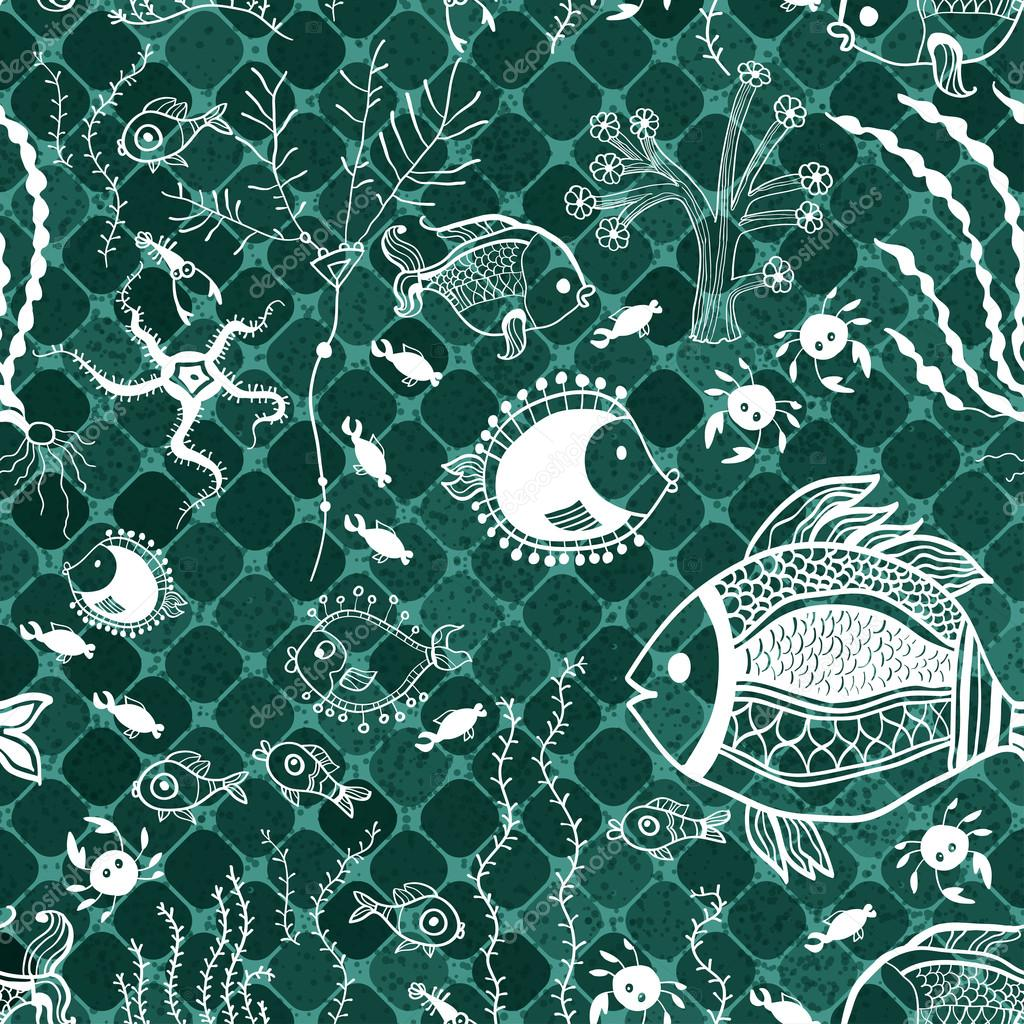 Fish pattern in abstract style